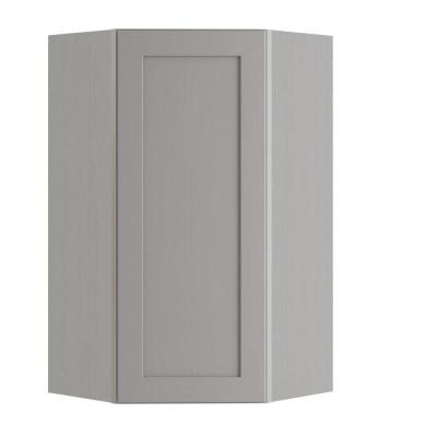 Tremont Assembled 24x36x12 in. Plywood Shaker Wall Angle Corner Kitchen Cabinet Soft Close Left in Painted Pearl Gray
