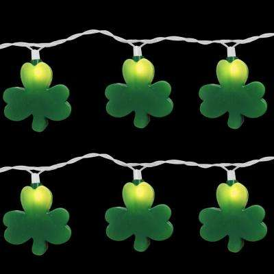 10-Light Green St. Patrick Clover Light Set (Set of 2)