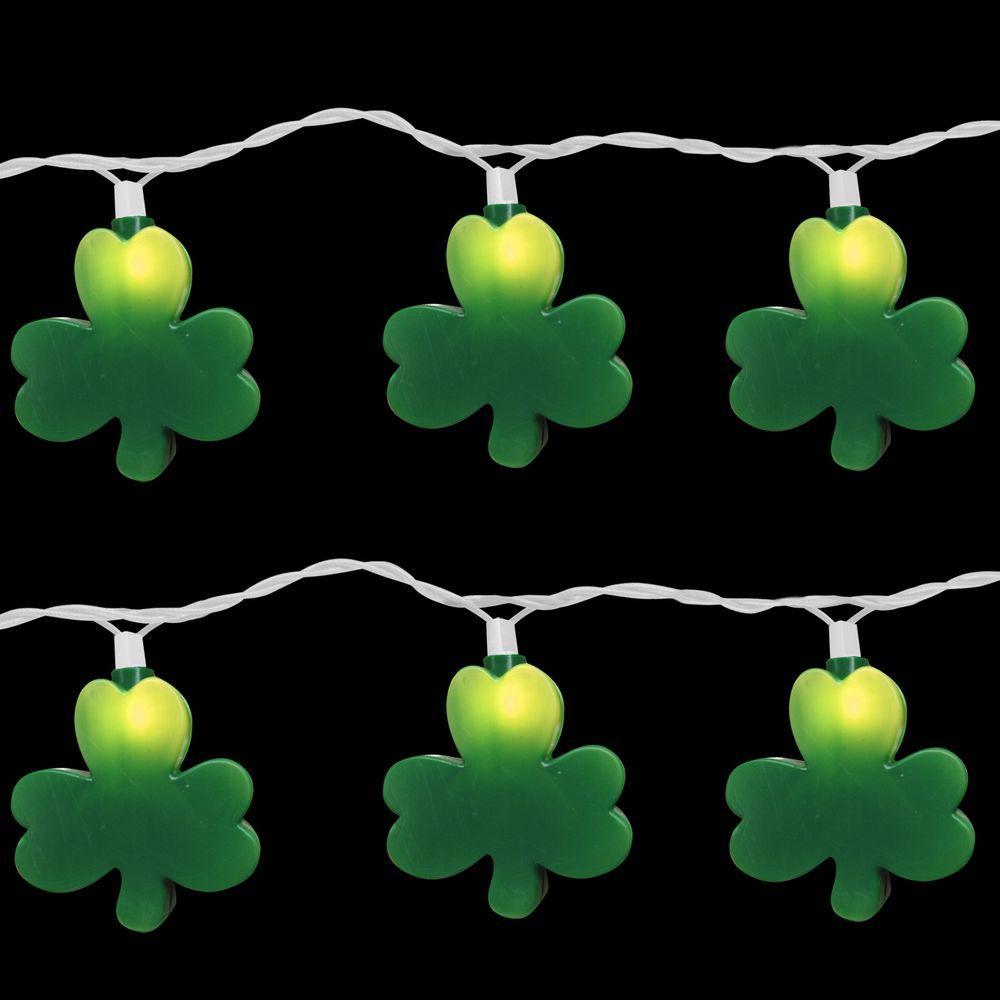 10-Light Green St. Patrick Clover Light Set (Set of 2)
