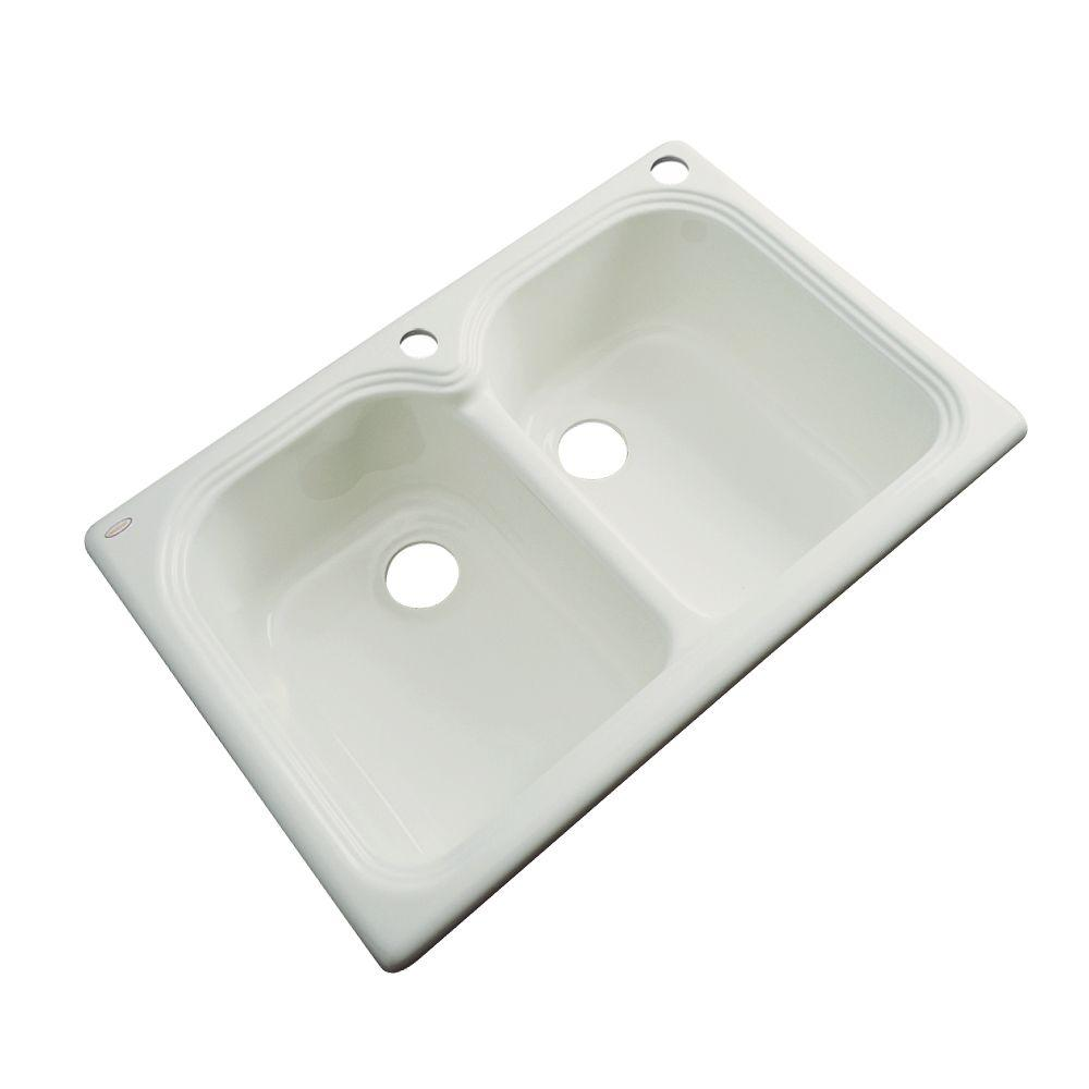 Thermocast Hartford Drop-In Acrylic 33 in. 2-Hole Double Bowl Kitchen Sink in Tender Grey