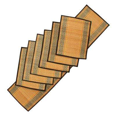 Brown and Black Woven Placemat Table Mat and 1-Runner (Set of 6)