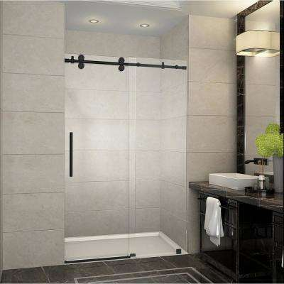 Langham 44 in. - 48 in. x 75 in. Frameless Sliding Shower Door in Matte Black