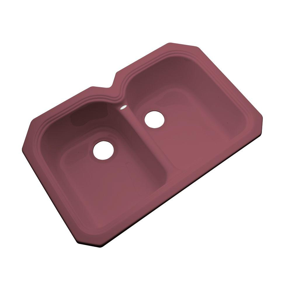 Thermocast Hartford Undermount Acrylic 33 in. Double Bowl Kitchen Sink in Raspberry Puree