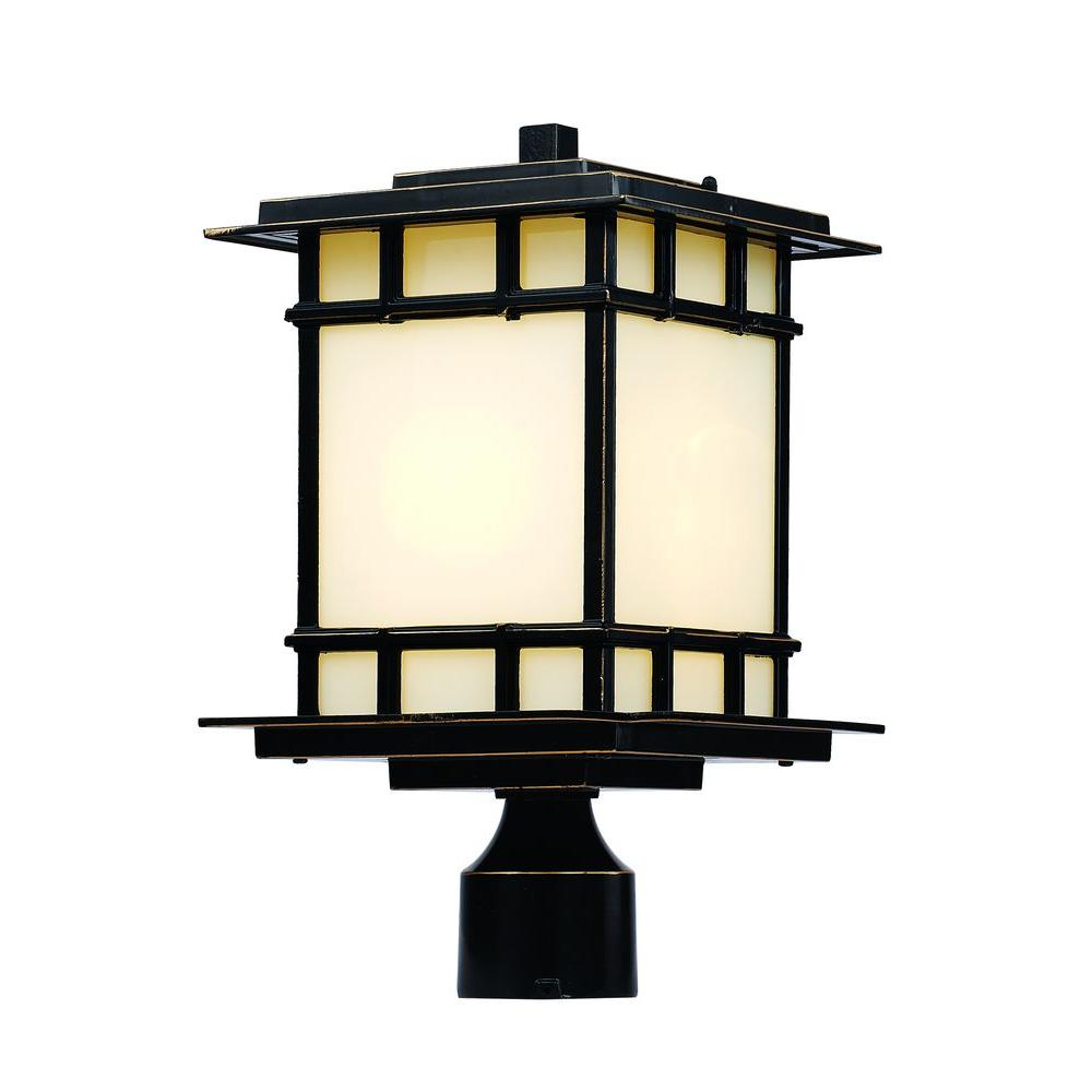 Bel Air Lighting 1-Light Rubbed Oil Bronze Outdoor Chateau View Post Lantern
