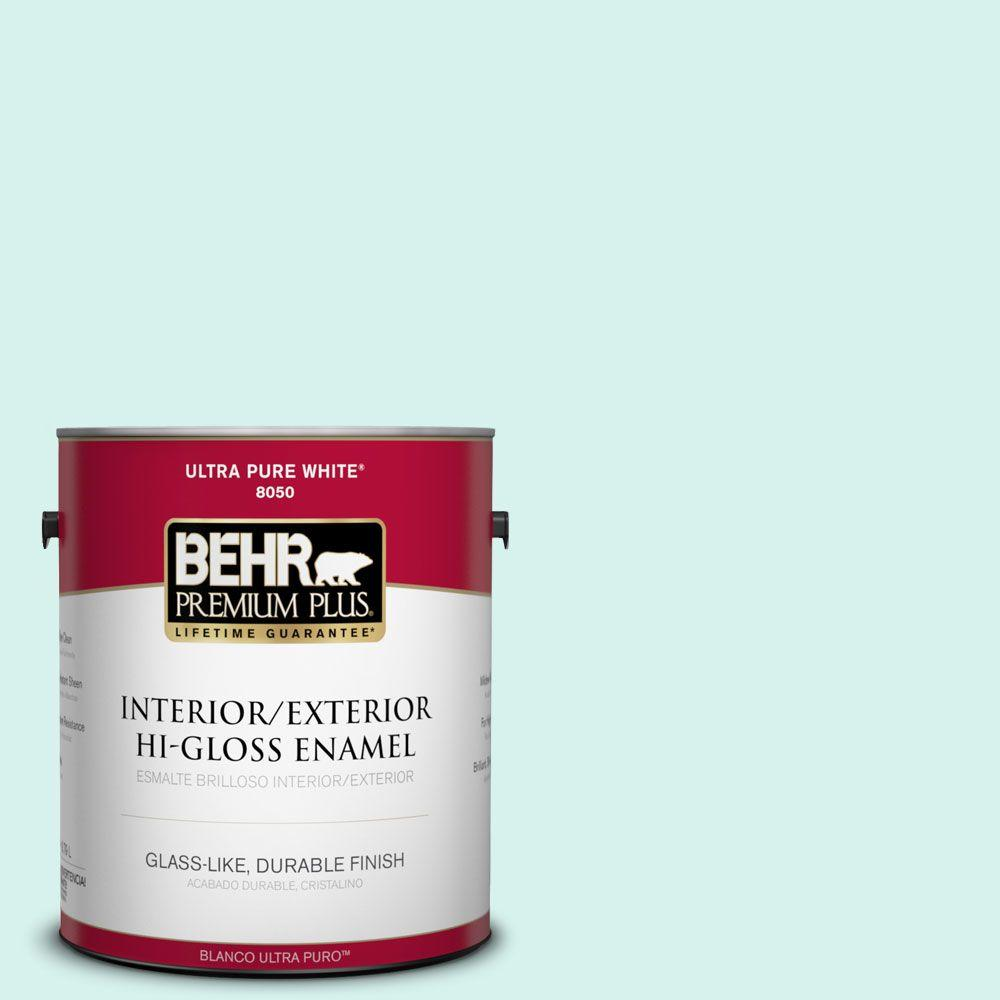 1-gal. #480A-1 Minted Ice Hi-Gloss Enamel Interior/Exterior Paint
