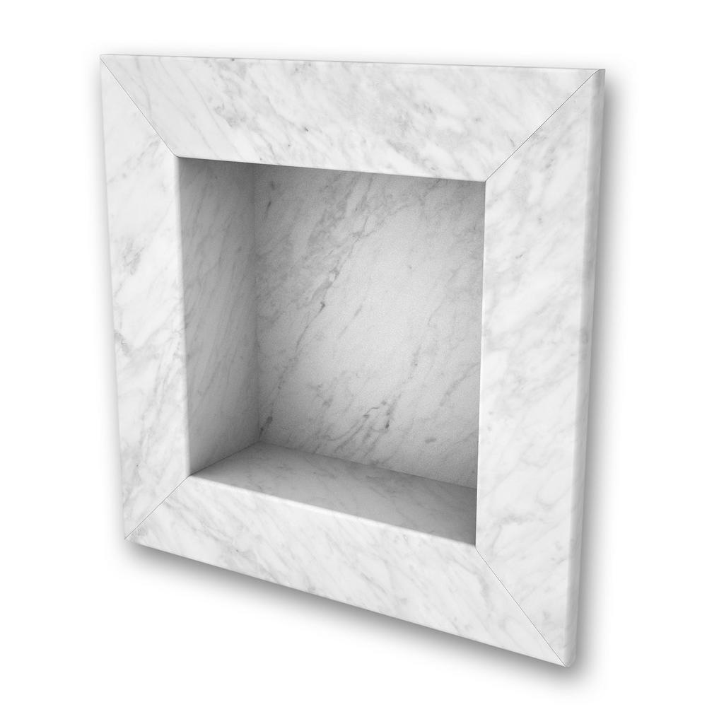 FlexStone 11 in. x 11 in. Square Recessed Shampoo Caddy in Frost ...