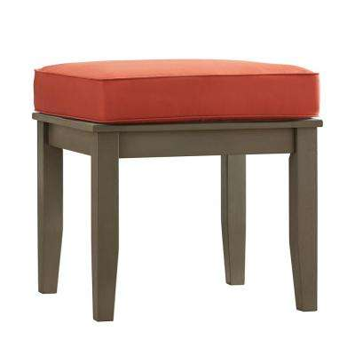 Verdon Gorge Gray Rectangle Oiled Wood Outdoor End Table with Red Cushion