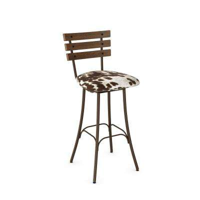 Lodge 30 in. Hammered Medium Brown Metal Soft Brown and Beige Faux Cowhide Fabric Medium Brown Wood Barstool