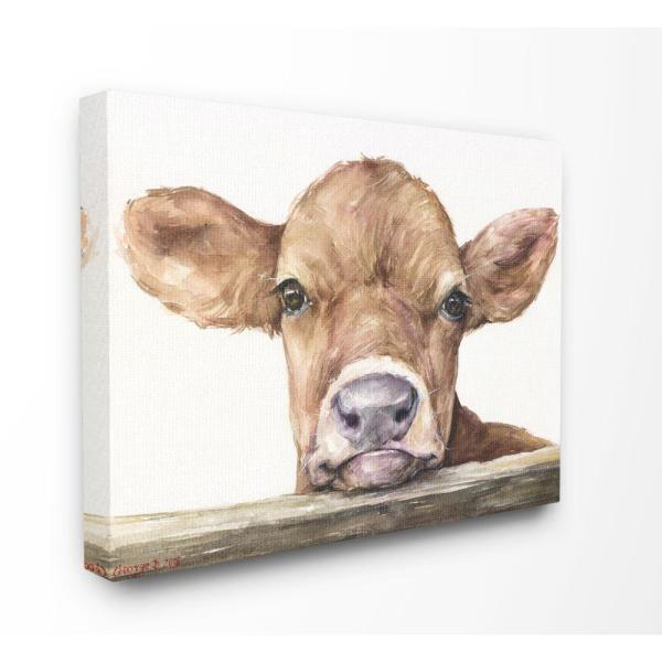 24 in. x 30 in. ''Cute Baby Cow'' by George Dyachenko Canvas Wall Art
