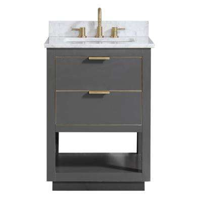 Allie 25 in. W x 22 in. D Bath Vanity in Gray with Gold Trim with Marble Vanity Top in Carrara White with Basin