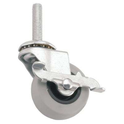 4 in. Threaded Stem with Brake Non-Marking Rubber Caster