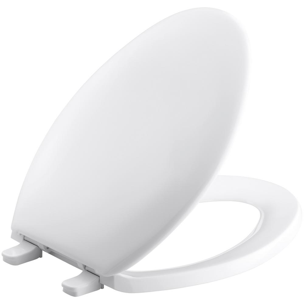 Bancroft Elongated Closed-Front Toilet Seat with Quick-Release Hinges in White