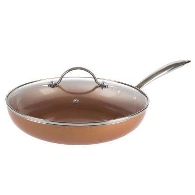 Non Stick 10 in. Copper Square Fry Pan with Induction Bottom and Lid