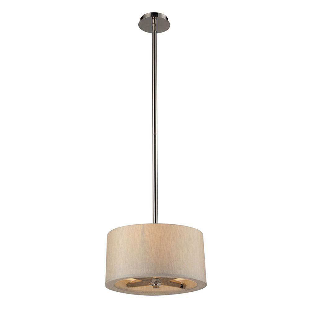 Titan Lighting Jorgenson 3-Light Polished Nickel Ceiling Mount Pendant