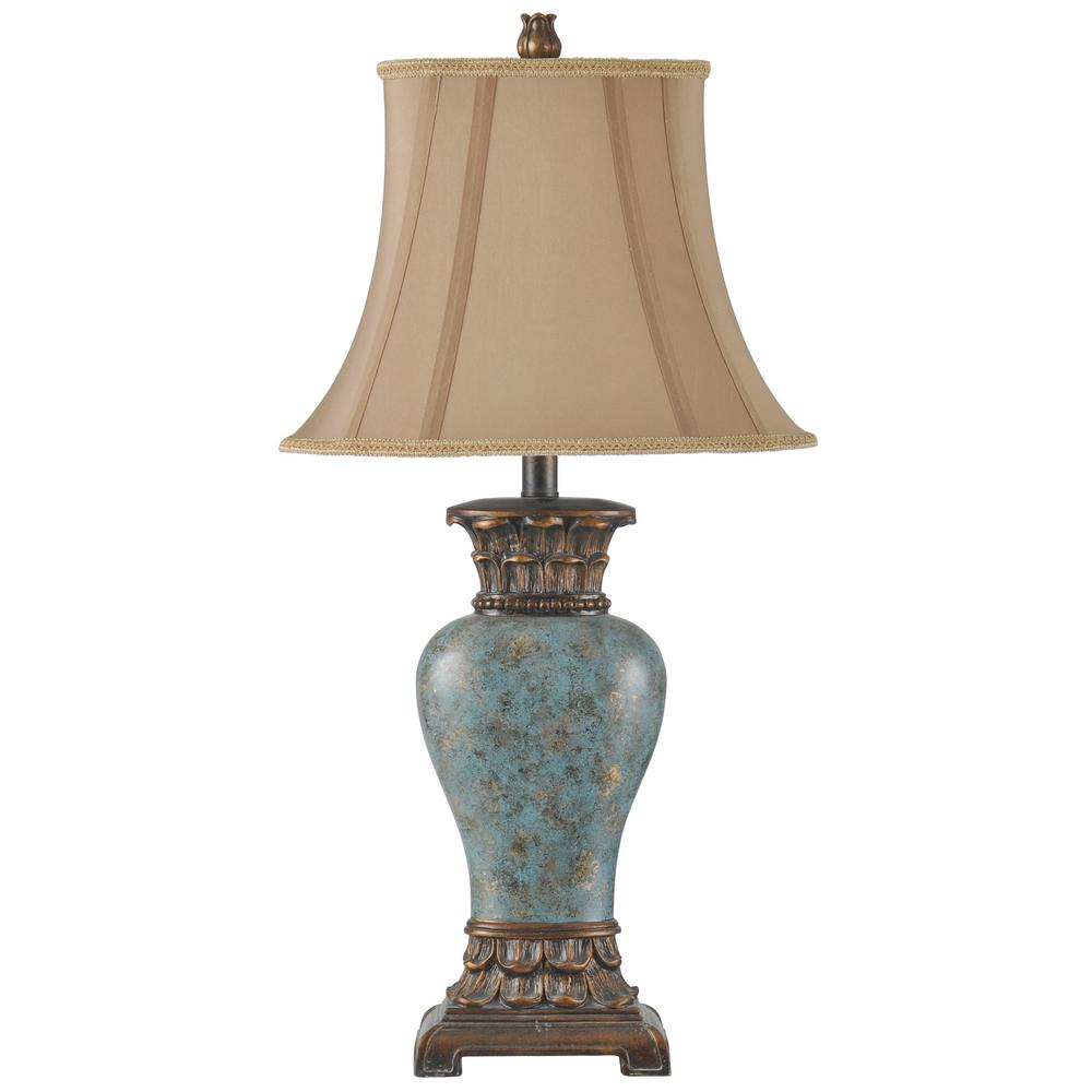 Blue Brown Bronze Gold Table Lamp