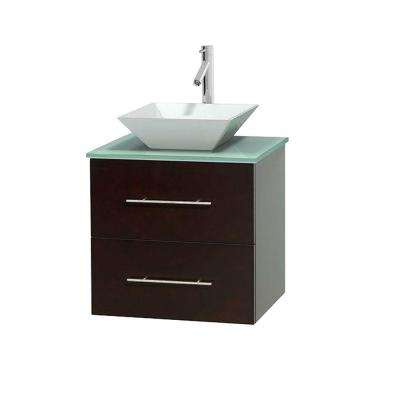 Centra 24 in. Vanity in Espresso with Glass Vanity Top in Green and Porcelain Sink