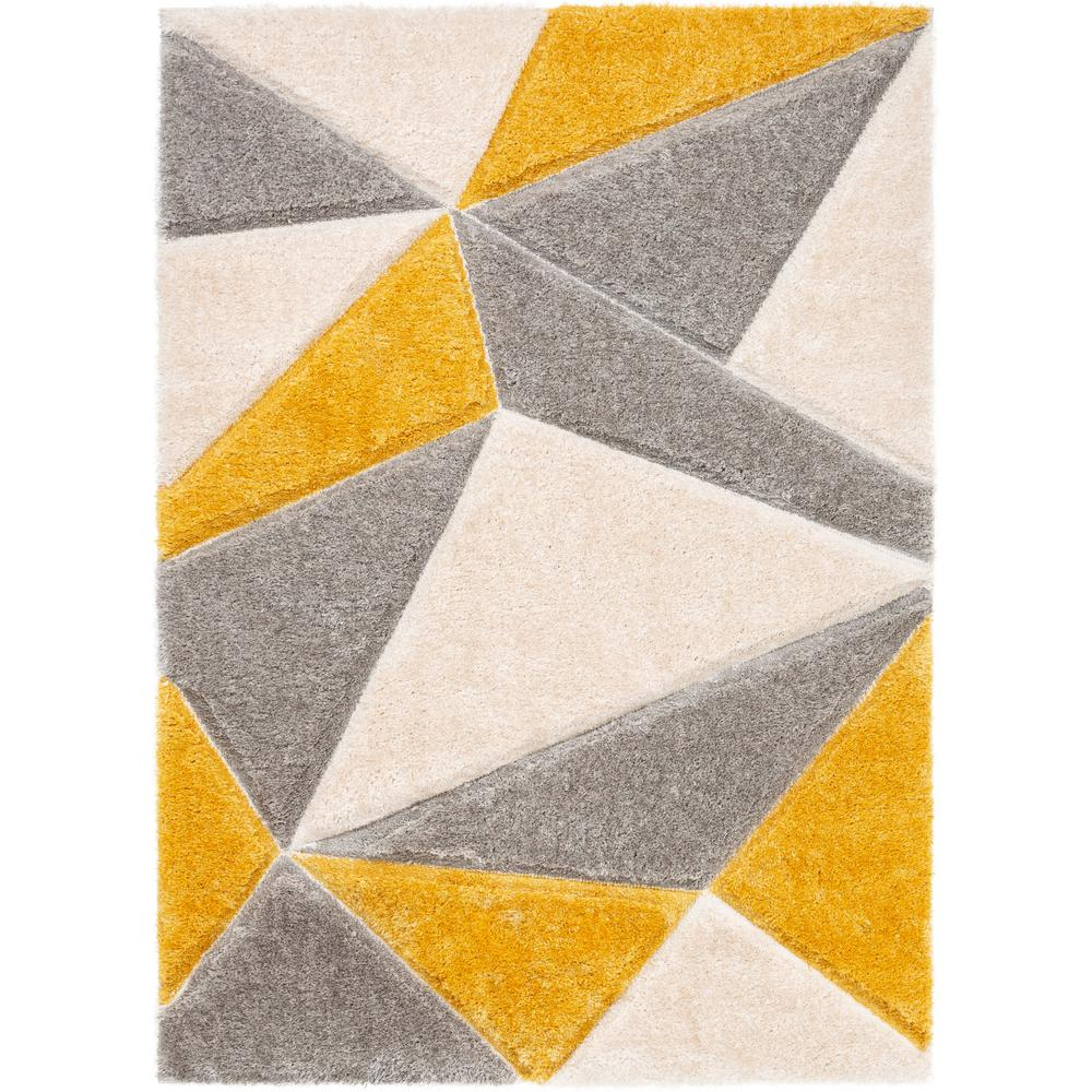 Well Woven San Francisco Venice Yellow Modern Geometric Abstract 5 Ft 3 In X 7 Ft 3 In 3d Carved Shag Area Rug Sf 41 5 The Home Depot