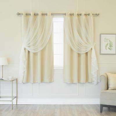 Beige 63 in. L Marry Me Lace Overlay Blackout Curtain Panel (2-Pack)
