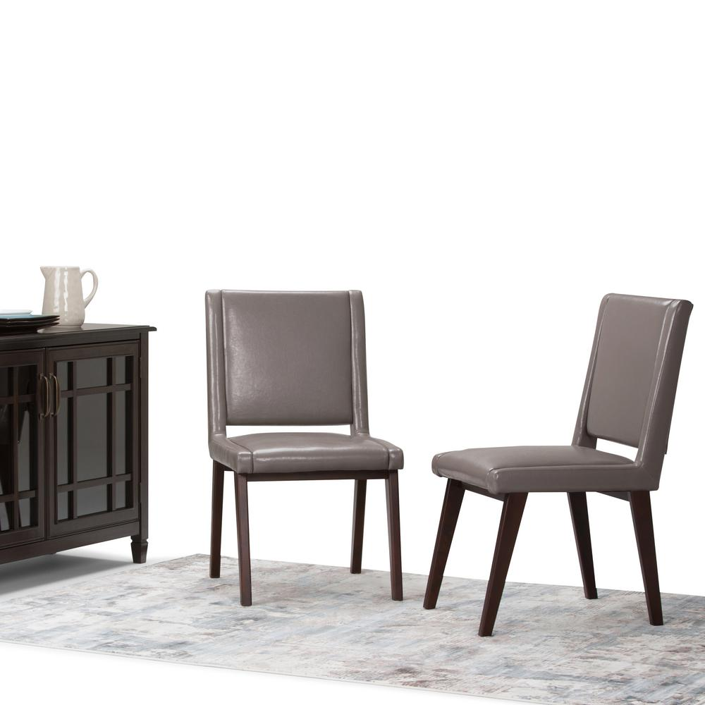 Simpli Home Draper Mid Century Taupe PU Faux Leather Deluxe Dining Chair  (Set Of 2