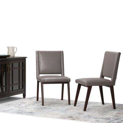 Draper Mid Century Taupe PU Faux Leather Deluxe Dining Chair (Set of 2)