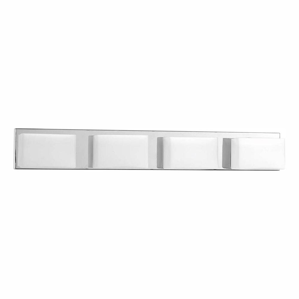 Progress Lighting Ace Collection 4 Light Polished Chrome Integrated Led Bathroom Vanity Light With Glass Shades P2145 1530k9 The Home Depot