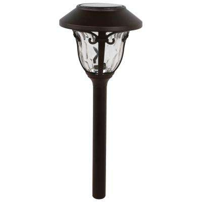 Solar Bronze Outdoor Integrated LED 3000K Glass and Metal Landscape Pathway Light (4-Pack)