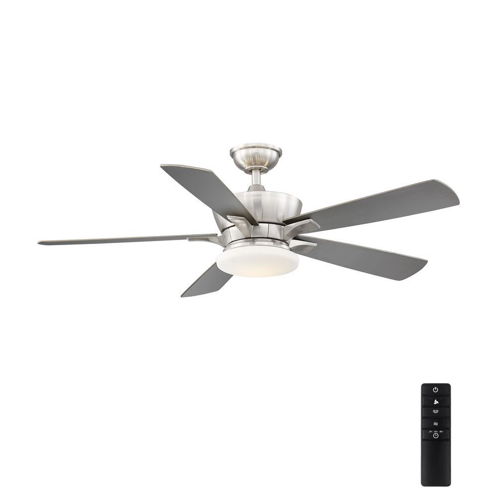 LED Uplight Brushed Nickel Ceiling Fan Home Decorators Collection Bergen 52 in