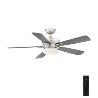 Bergen 52 in. LED Uplight Brushed Nickel Ceiling Fan With Light and Remote Control
