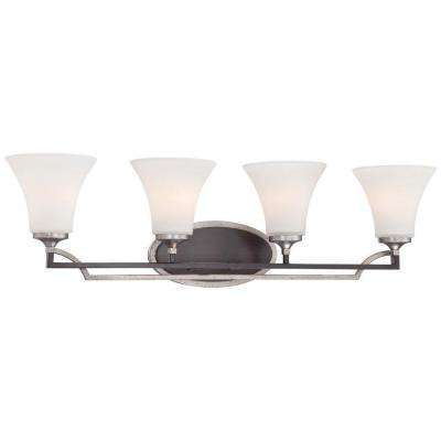 Astrapia 4-Light Dark Rubbed Sienna with Aged Silver Bath Light