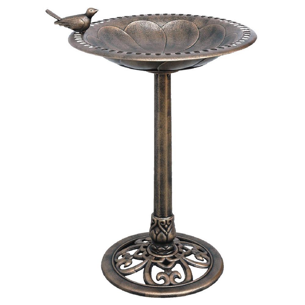 19-1/2 in. x 19-1/2 in. x 30 in. Polypropylene Bronze Birdbath (4-Piece)