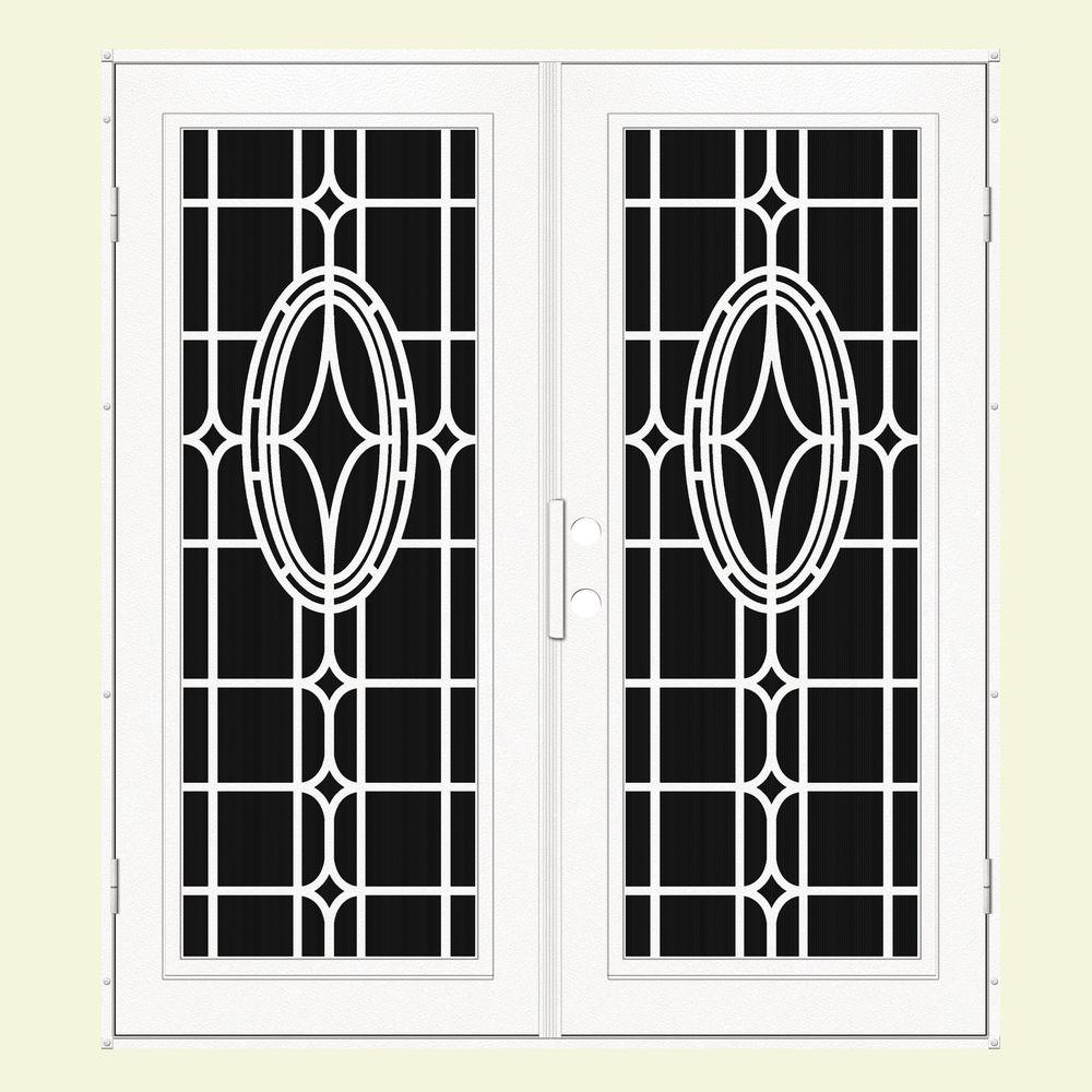Unique Home Designs 60 in. x 80 in. Modern Cross White Right-Hand Surface Mount Aluminum Security Door with Charcoal Insect Screen
