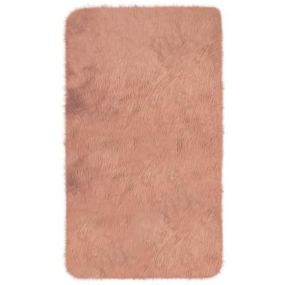 Faux Fur Shag Blush 3 ft. x 5 ft. Shaped Accent Rug