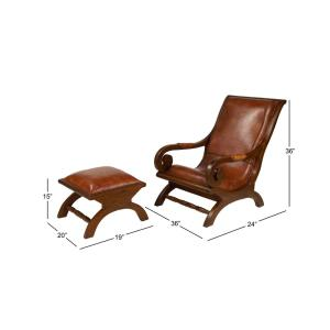 Excellent Litton Lane Brown Teak Wood And Leather Chair And Ottoman Pabps2019 Chair Design Images Pabps2019Com