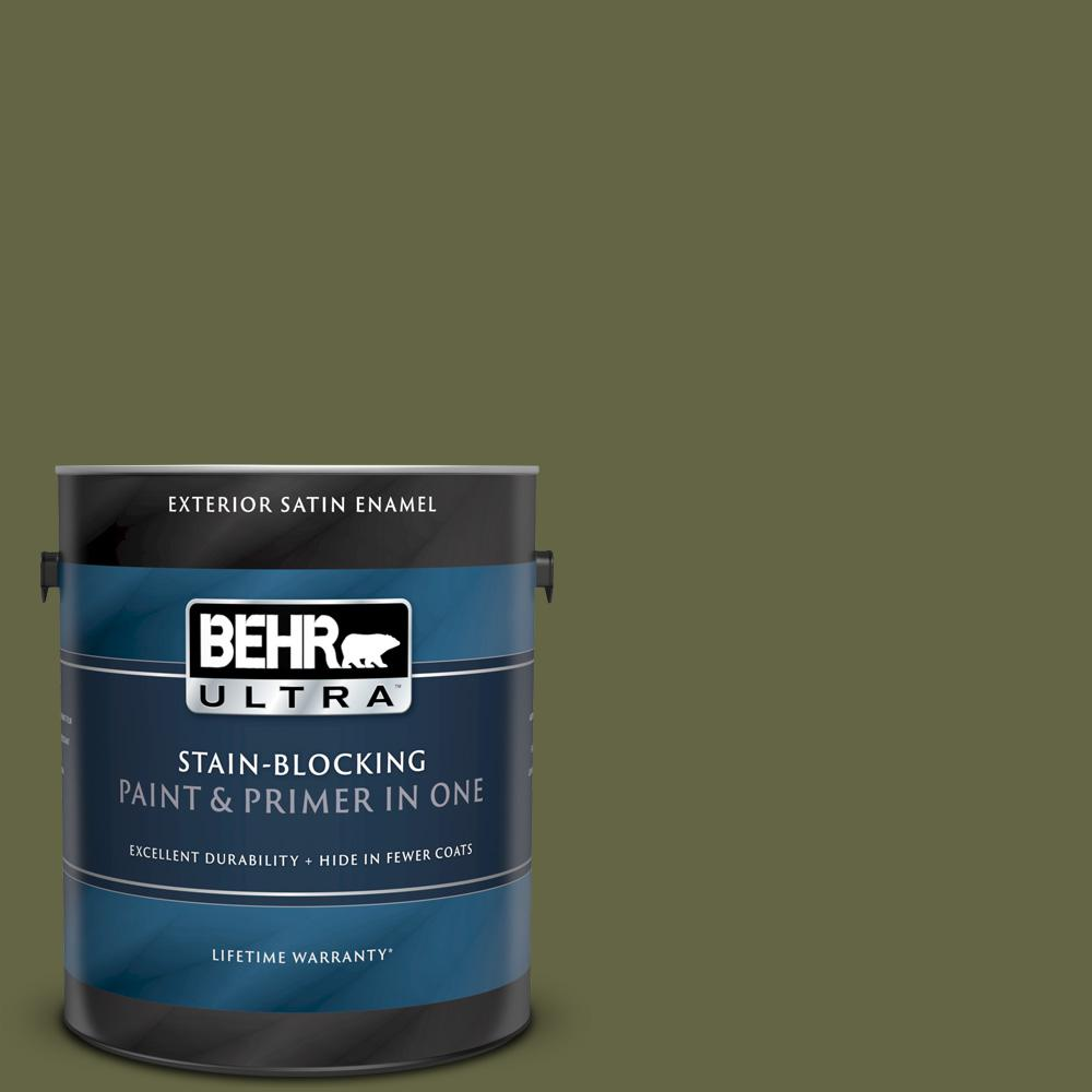 BEHR ULTRA 1 gal. #PPU9-24 Amazon Jungle Satin Enamel Exterior Paint and Primer in One BEHR ULTRA 1 gal. #PPU9-24 Amazon Jungle Satin Enamel Exterior Paint and Primer in One