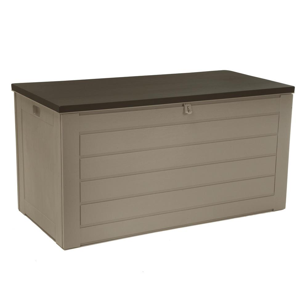 Resin Storage Deck Box In Tan And Brown