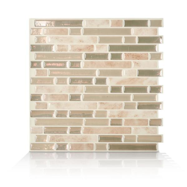 Smart Tiles Bellagio Sabbia Multi 10.06 in. W x 10 in. H Peel and Stick Decorative Mosaic Wall Tile Backsplash (4-Pack)