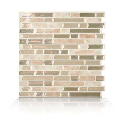 Bellagio Sabbia Beige 10.06 in. W x 10.00 in. H Peel and Stick Self-Adhesive Mosaic Wall Tile Backsplash (6-Pack)