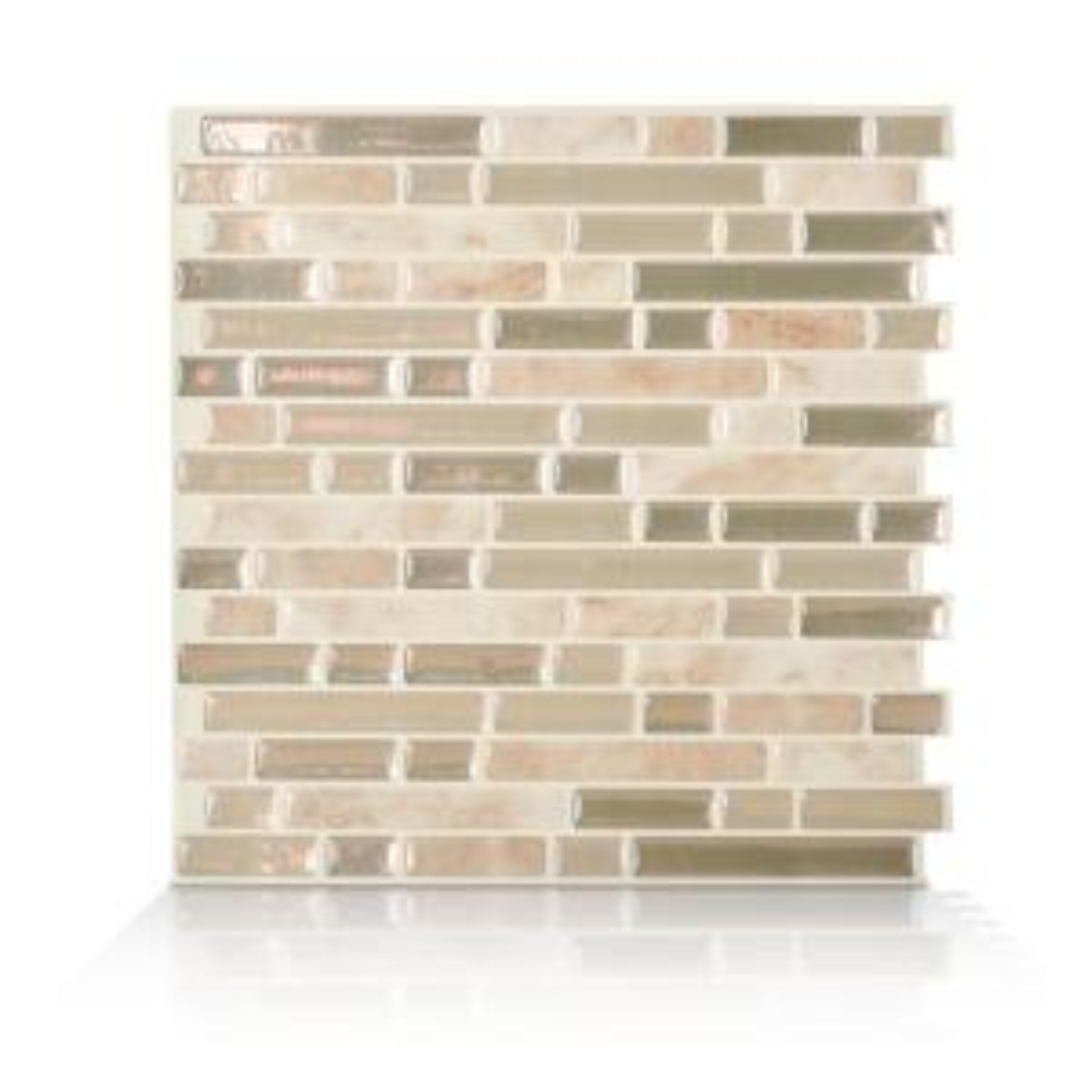 Bellagio Sabbia Beige 10.06 in. W x 10.00 in. H Peel and Stick Self-Adhesive Decorative Mosaic Wall Tile Backsplash