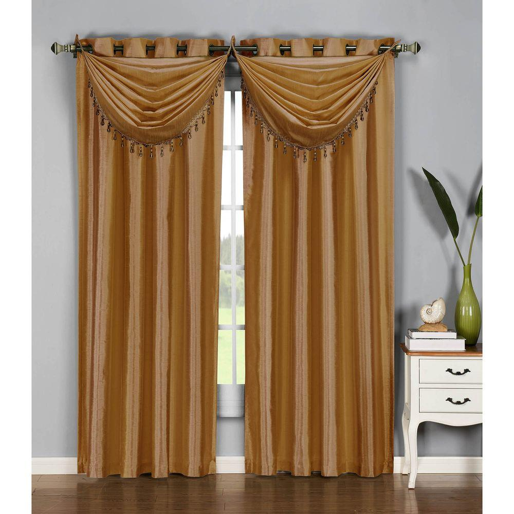 Window Elements Semi Opaque Jane Faux Silk 84 In L Grommet Curtain Panel Pair