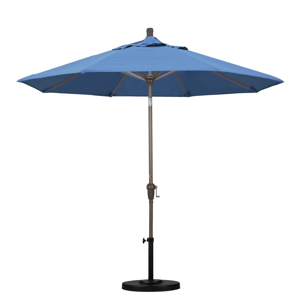 9 ft. Aluminum Auto Tilt Patio Umbrella in Capri Pacifica