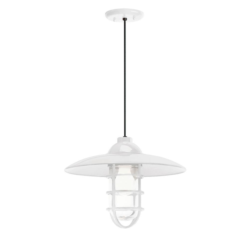 Retro industrial 13 in shade 1 light gloss white finish pendant