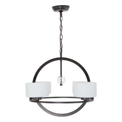 Rotterdam 4-Light Bronze Modern Chandelier Frosted with White Paint Inside Glass Shades