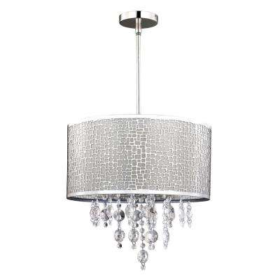 Benito 4-Light Chrome Chandelier with Drum Shade and Crystal