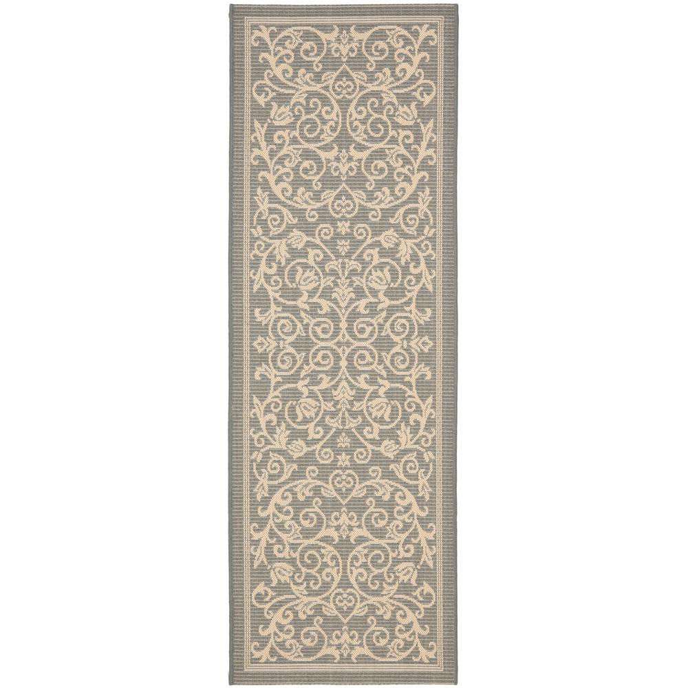 Safavieh Courtyard Gray Natural 2 Ft X 10 Ft Indoor