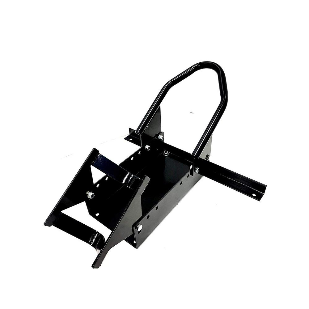 Standard Motorcycle Wheel Chock with Pivoting Cradle Our MaxxHaul Standard Motorcycle Wheel Chock is designed to accommodate bike tires from 14 in. to 21 in. Dia and 3-1/8 in. to 9 in. W. This wheel chock features a 7-3/4 in. W pivoting cradle to handle most motorcycle tires. And allows easy use and removal of the motorcycle from the wheel chock.
