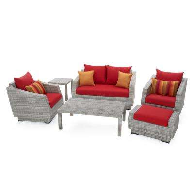 Cannes 6-Piece All-Weather Wicker Patio Love and Club Seating Set with Sunset Red Cushions