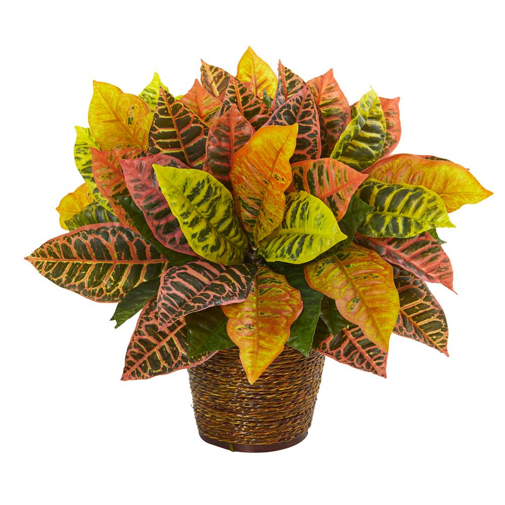 Nearly Natural 17 in. Garden Croton Artificial Plant in Basket (Real Touch)