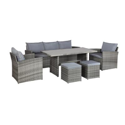 Iris 6-Piece Wicker Patio Conversation Set with Gray Cushions