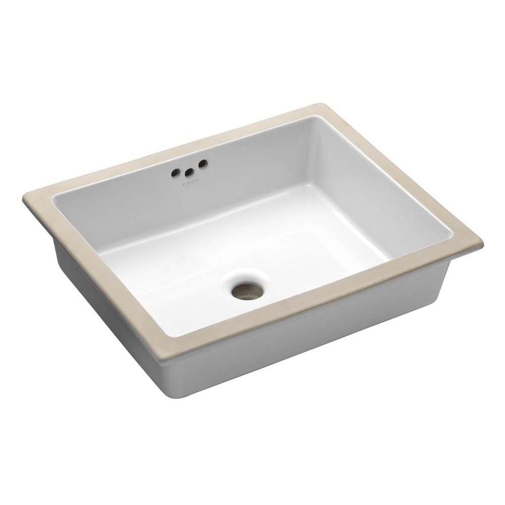 Kohler Kathryn Vitreous China Undermount Bathroom Sink In White With Overflow Drain