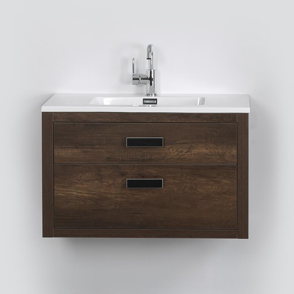Streamline 31.5 in. W x 19.3 in. H Bath Vanity in Brown with Resin Vanity Top in White with White Basin